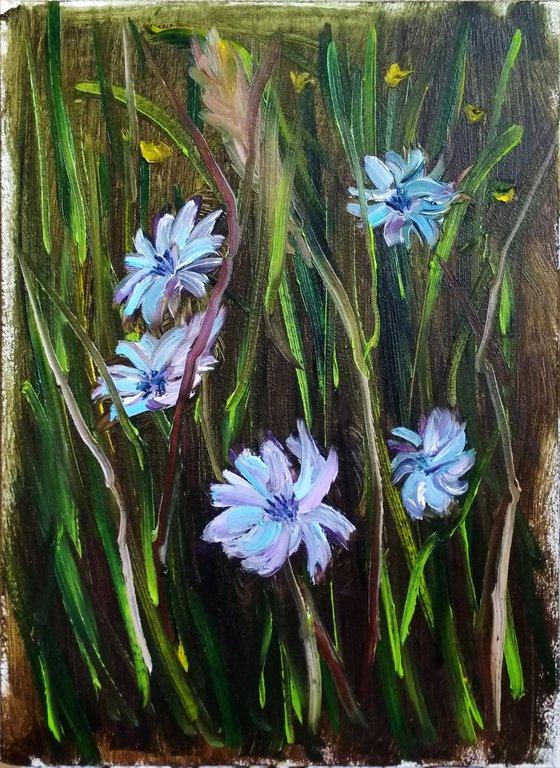 Cornflowers at the meadow. Pleinair painting