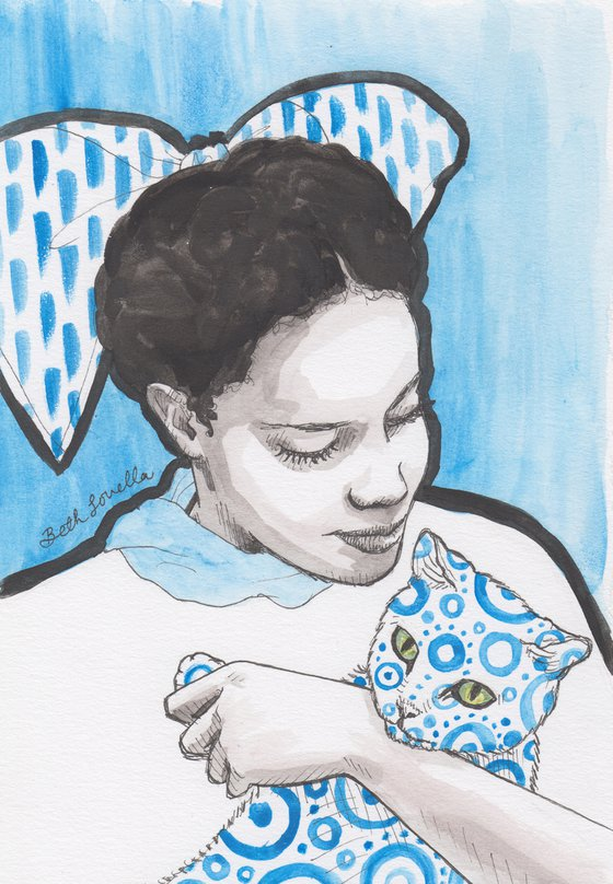 Girl With Patterned Cat Portrait Blue Study
