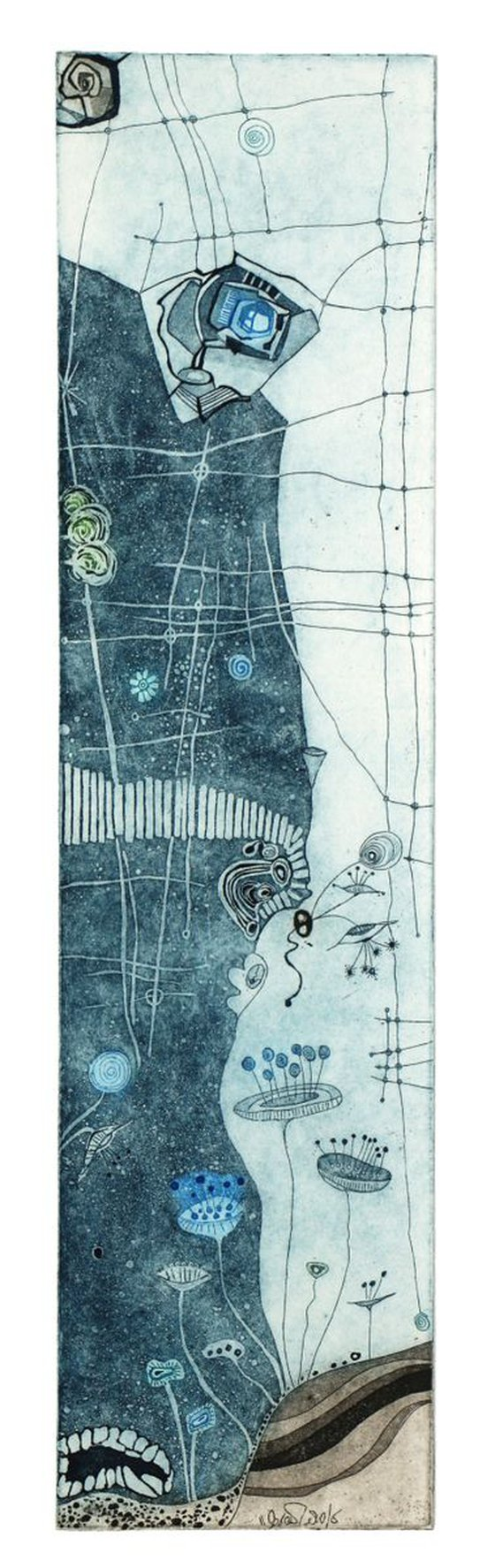 """Heike Roesel """"Moonflowers"""" (blue), fine art etching in 2 editions of 35 each"""