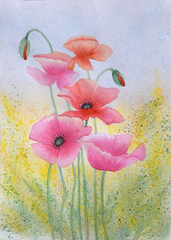 """Watercolour Poppies"" 41 х 29.5"