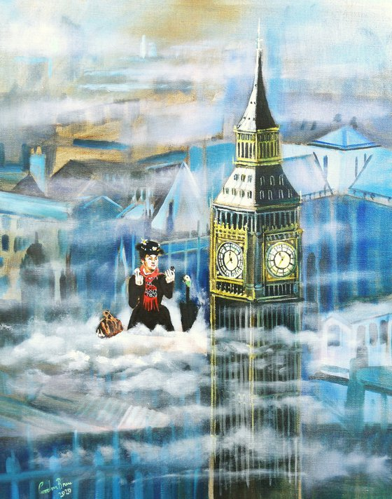 Mary Poppins in the clouds