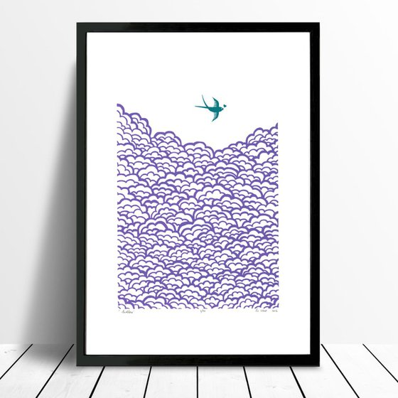 Swallow A3 size in amethyst and biscay bay - Framed - FREE Worldwide Delivery