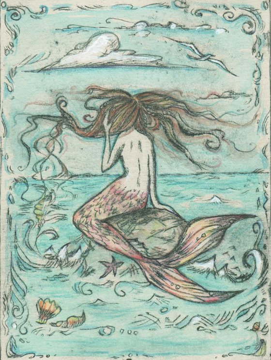 Mermaid Limited Edition drypoint etching Out to Sea mermaid on a rock art