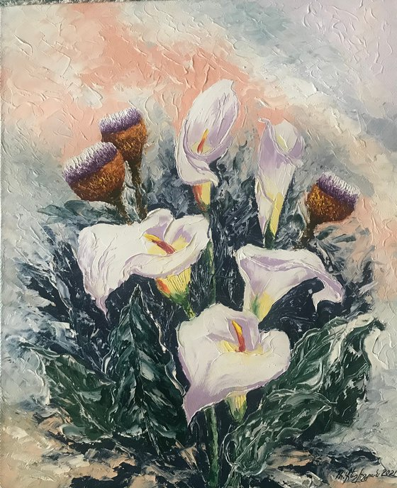 Callas (50x60cm, oil painting, ready to hang)