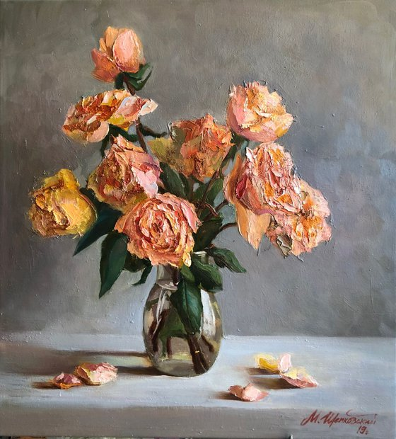 """Flowers in a vase """"Roses""""."""