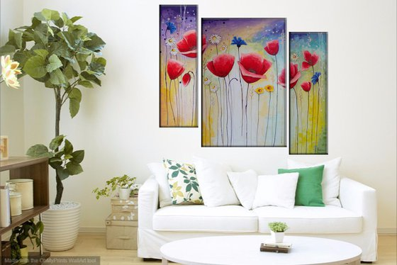 Abstract red poppies (20x60 40x60 20x60cm, acrylic painting, ready to hang)