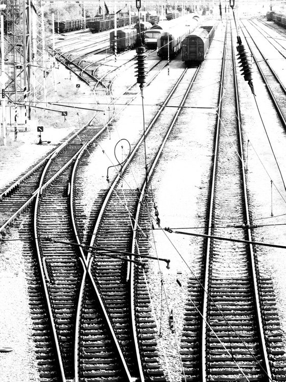 Rail Tracks, minimalist black and white urban city landscape