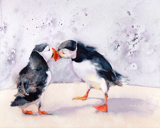 Puffins - It must be love, original watercolour painting