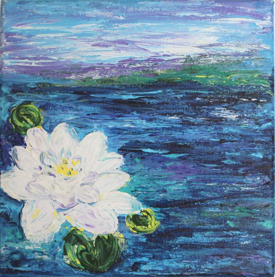 Pristine - Lily pond - floral painting - Claude Monet inspired impressionistic acrylic painting on canvas- water lily