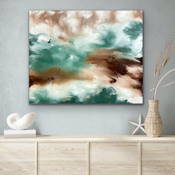 Smoke Green Abstract - 50cm x 60cm