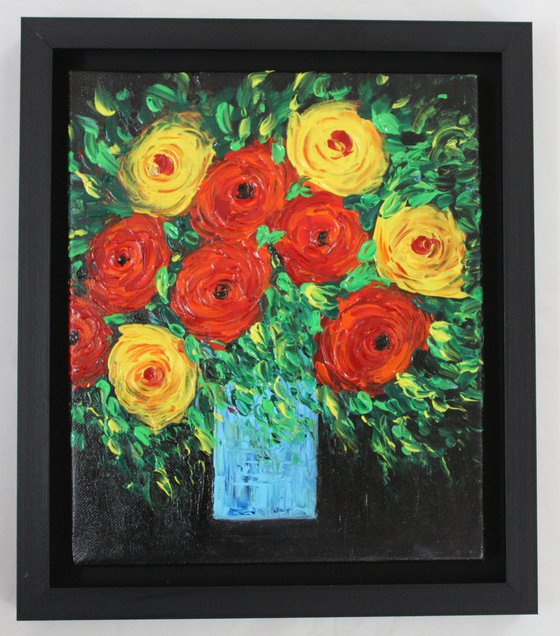 My Beautiful Life - Floral still life painting -Palette knife impasto artwork- art-gift