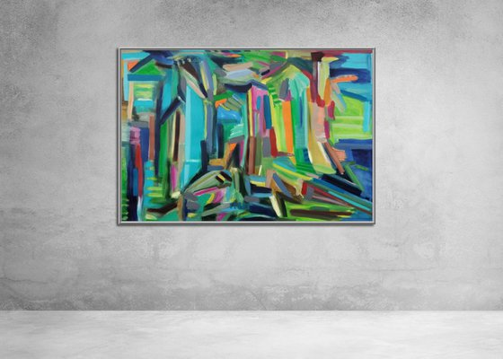 At the end of the corridor 29.1x 43 inches  | Large Abstract Landscape |