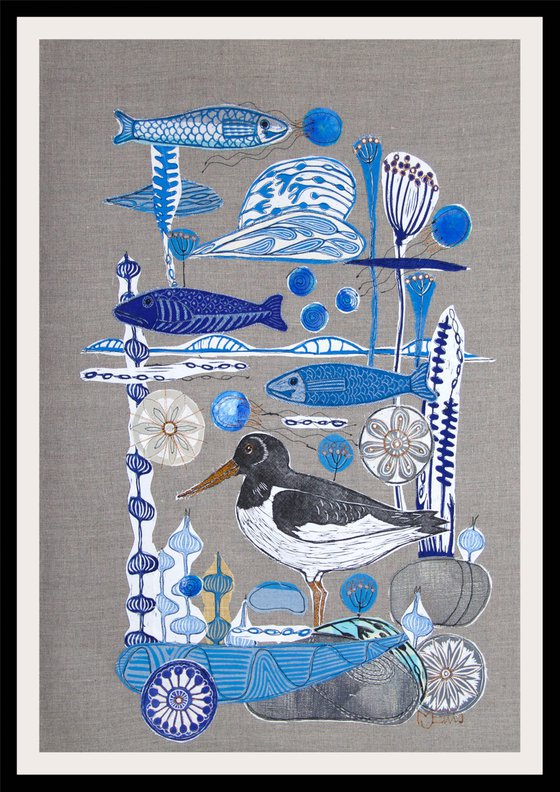 Flotsam and Jetsam, XL linocut textile collage with all handprinted fabrics