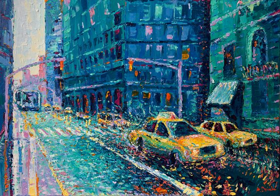 """""""Rainy Day in New York"""" Palette knife cityscape"""