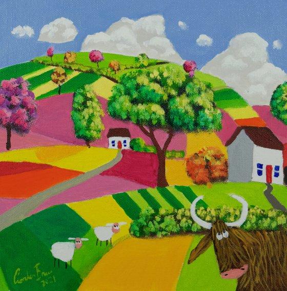 Highland cow folk art oil painting on panel