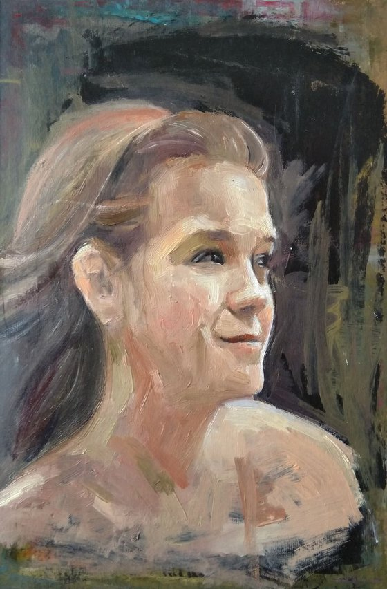 Girl portrait (26x37cm, oil painting, ready to hang)