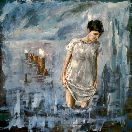 Looking deep, palette knife gestural girl portrait figurative woman walking in the sea with seagull