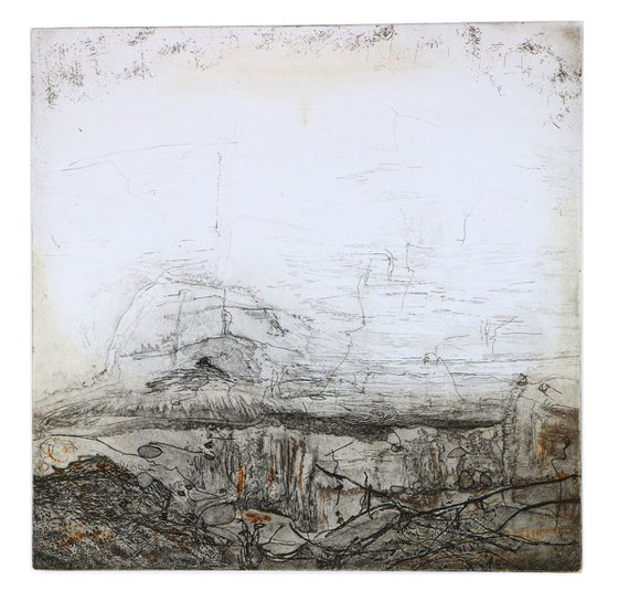 """Heike Roesel """"Solitary Cave"""", fine art etching in variation, edition of 10"""