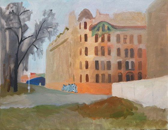 Left old building, orange