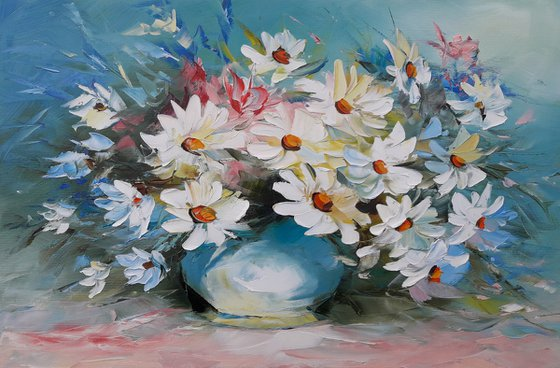 Chamomiles (40x60cm, oil painting, ready to hang)