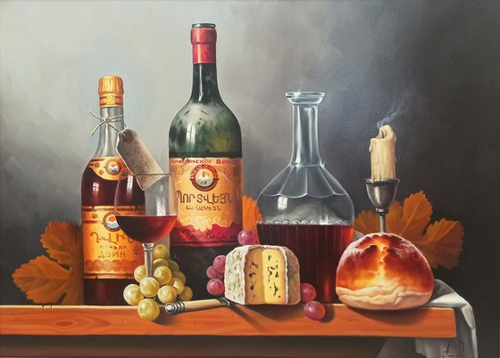 Still life with cognac  (50x70cm, oil painting, ready to hang)