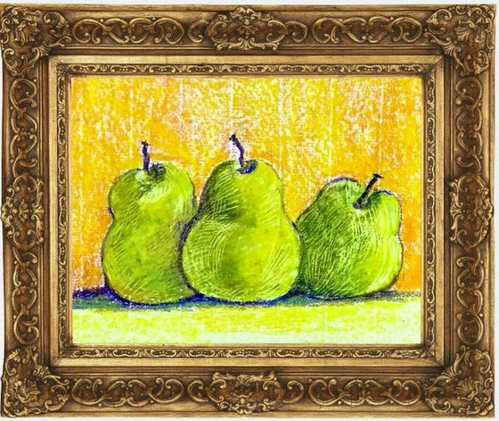 """Pears Three pears oil pastel Still life liGHt painting- 9.75""""x 8.3"""" Gift"""