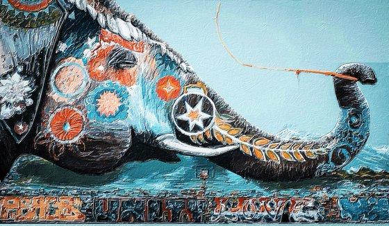 Elephant Ornate Ornament Decorative Wild Blue