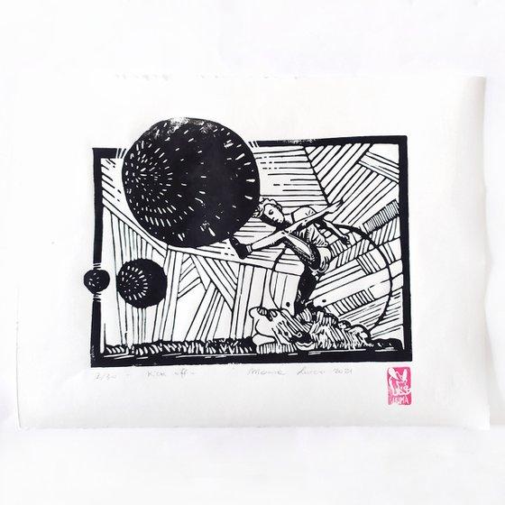Kick off- illustration print- linocut print