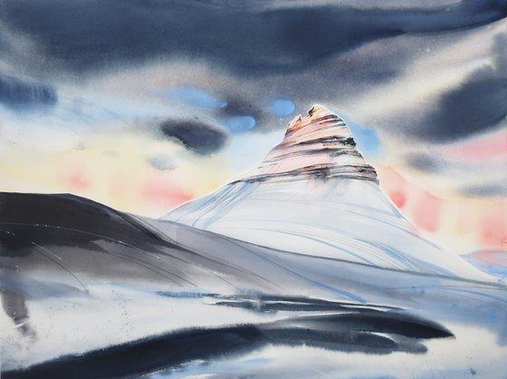 Iceland mountains. 80*60 cm. Watercolour landscape
