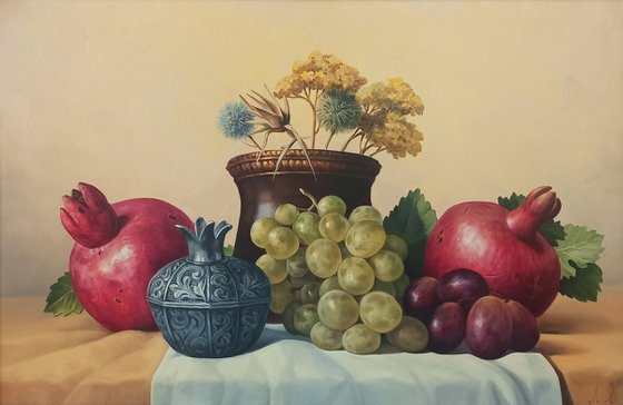 Still life with autumn fruits-2 (40x60cm, oil painting, ready to hang)