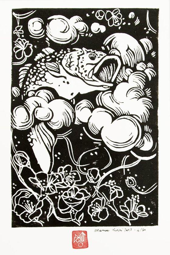 LINOCUT PRINT- Fish on a cloud-artistic print