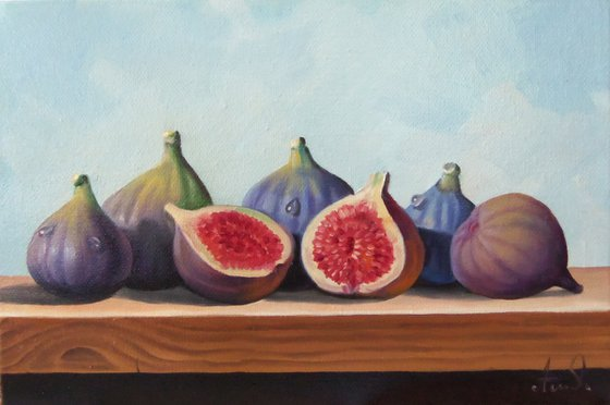 Still life with fig-5 (20x30cm, oil painting, ready to hang)