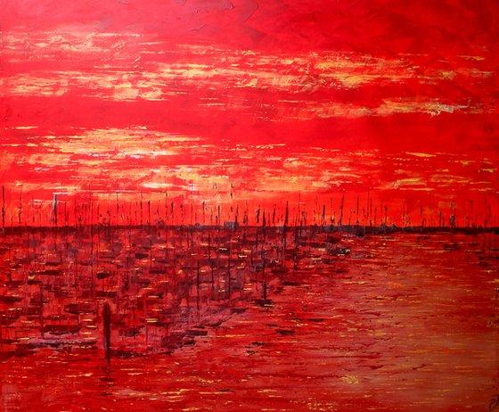 Lymington Harbour Sunset (Extra Large 120 cm x 100 cm)