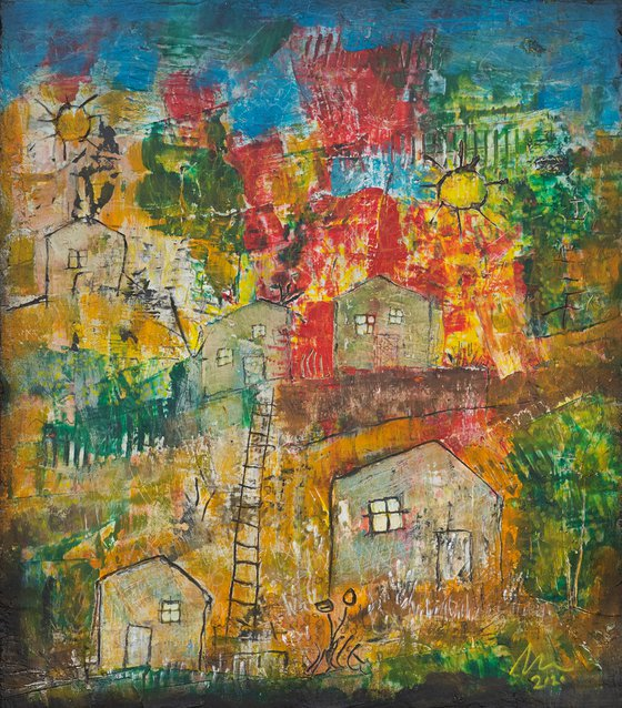 Village with two suns - art brut painting
