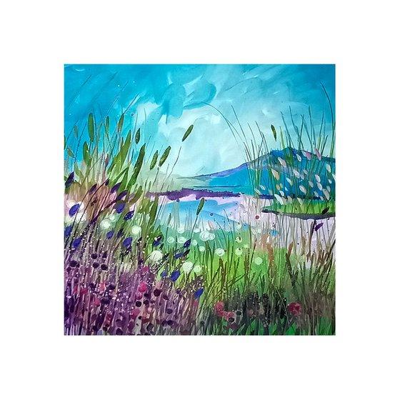 Cotton Grass and Loch View, Scottish Highlands