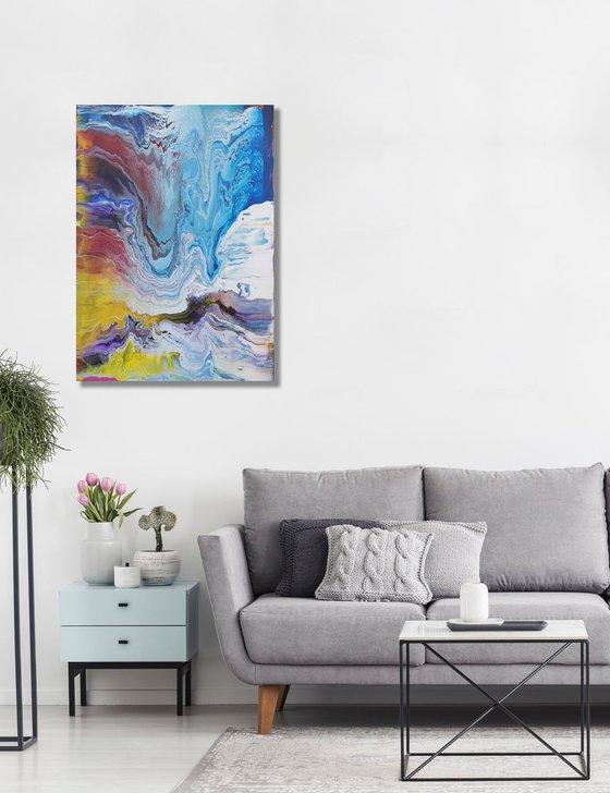 """Blue Ice Mountain"". Original Poured Painting, 70cm x 50cm"