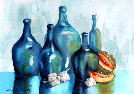 Symphony in Blue - watercolour bottlescape - original