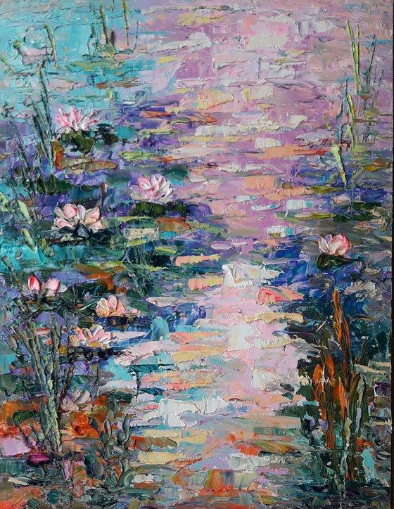 Water Lilies Artwork, Flower Painting, Water lilies Oil Impasto, Original Art Modern, Decor Home, Wall Art. Painting Gift painting by Kseniya Kovalenko