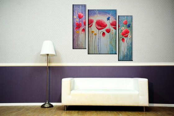 Red poppies (20x60 40x60 20x60cm, acrylic painting, triptych, colors)