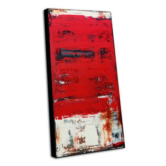 VINTAGE RED - 120 X 60 CMS - ABSTRACT ACRYLIC PAINTING ON CANVAS * INDUSTRIAL ART