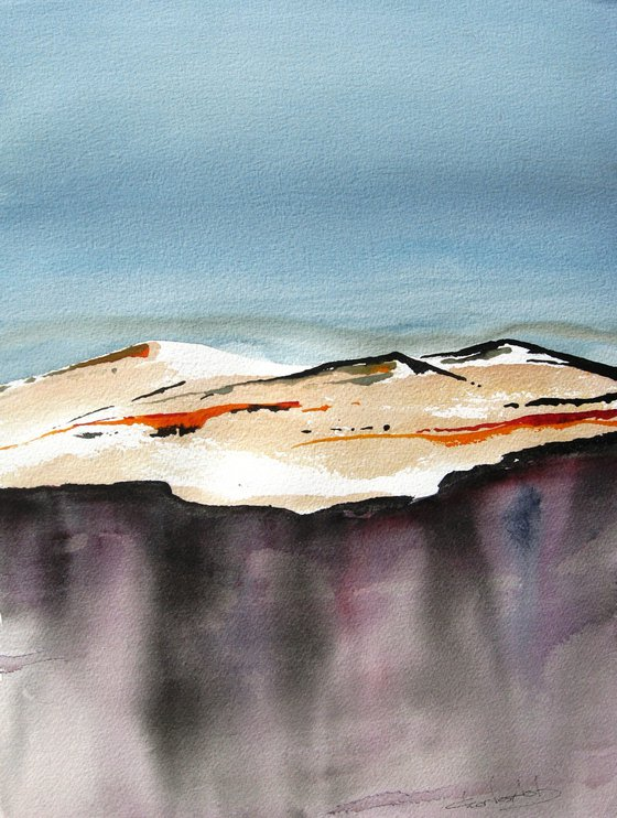 Malpais Twilight - Original Watercolor Painting