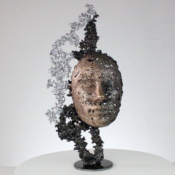 A tear 51-21 - Face metal sculpture lace bronze steel chrome