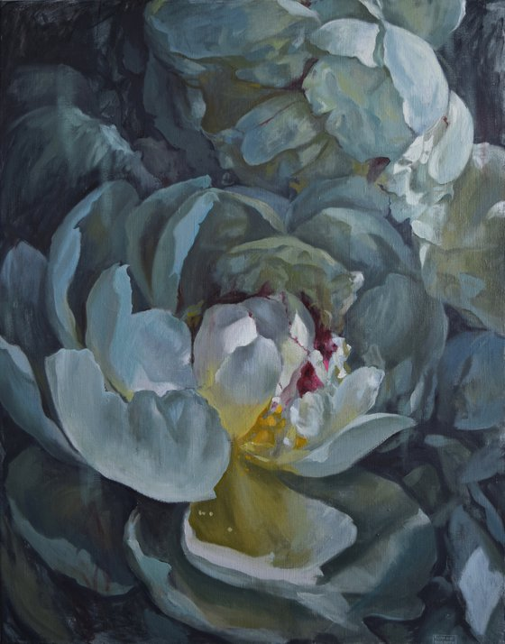 BLUE REFLECTIONS- bright large peonies flower realistic blue oil painting gift idea wall home decor