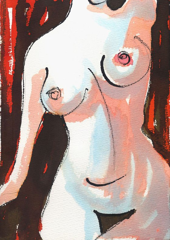 Female Nude Study - Framed painting