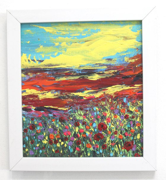 Beauty of Flowers - Acrylic Landscape Painting framed