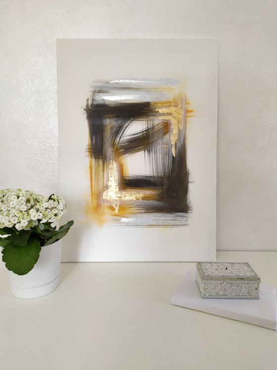 Abstract modern art Black, white, gold and silver