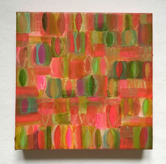 Spring Leaves, acrylic abstract canvas painting
