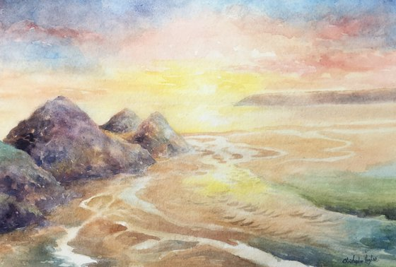 Three Cliffs Sunset.The Gower.Swansea