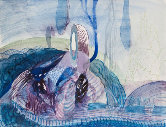 ACQUA BLUES II;  27H X 35 W X 0.1D cm 10.6H X 13.8W in; WATERCOLOR ON PAPER
