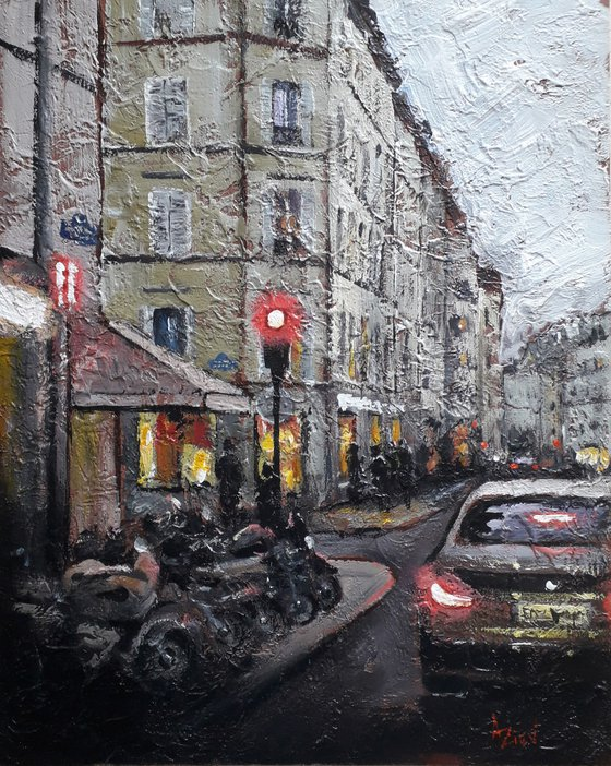 Cityscape Evening street Relief painting